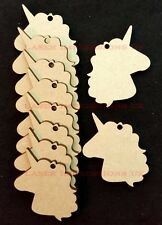 Unicorn Head Shaped Craft Embellishments, 3mm Medite MDF Decoration, Gift Tags