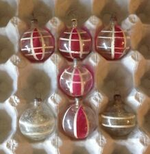 "7 VTG WWII Era 1.75"" UNSILVERED TINSEL RED STRIPES JAPAN CHRISTMAS ORNAMENTS"