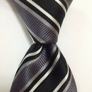 DONALD TRUMP President Signature Collection Men's Silk Necktie STRIPED Black EUC