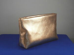 Bareminerals Rose Gold Faux Leather Zip Top Cosmetic Makeup Bag