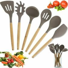 Bamboo Non-Stick Silicone Kitchen Utensil Cooking Tools 7 Piece Set with Holder
