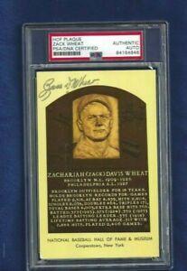 Zack Wheat Brooklyn Dodgers Baseball HOF Autographed Plaque Postcard PSA SLAB