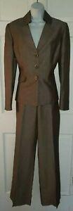 TAHARI heather Brown Linen Blend 2 Pc Pantsuit 10