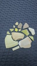 YELLOW GENUINE SEA POTTERY SURF TUMBLED BEACH POTTERY LOT 15 PIECES