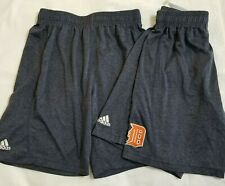 Lot 2 Adidas Boys Shorts Size Medium 10 12 Detroit Tigers Navy Blue Athletic