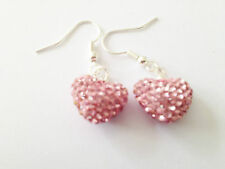 Earrings 15mm Czech Crystal Hearts Shamballa Sparkly Light Pink Heart Drop
