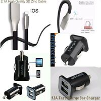 FAST 3D USB DATA CABLE & DUAL PORT 2 USB CAR CHARGER 4 iPHONE 7/6PLUS 7/6/5S/5C