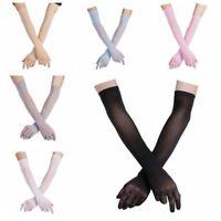 Womens Sheer Long Gloves Mesh Arm Opera Bridal Party Wedding Club Sun Protection