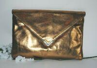 ELAINE TURNER Women's COPPER LEATHER ~ Rachel ~ Envelope Clutch Bag $295 NWT