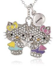 HELLO KITTY ZODIAC GEMINI Sterling Silver Pave Crystal Enamel Pendant Necklace