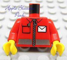 NEW Lego Boy/Girl Red MINIFIG TORSO wZipper Shirt Coat White Pocket Jacket 10222