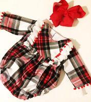 Newborn Baby Girl Long Sleeve Lace Plaid Bodysuit Romper Jumpsuit Outfit Clothes