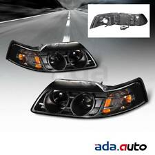 1999-2004 Ford Mustang Coupe/Convertible/GT [Projector] Black Headlights Set