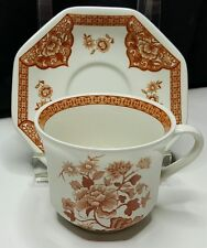 Royal Staffordshire Ironstone Old Pekin Floral Brown Liberty Bell Cup /Plate