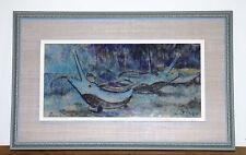 "Rare Original ""Balinese Fishing Boats"" Bali 1964 Chalk Pastel by Artist Han Snel"