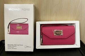 Michael Kors iPhone 5 Leather Wallet Clutch Wristlet Peony (PINK) Brand New!