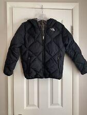 The North Face Girls Puffer Jacket 550 Black/Plaid Sz L (14/16) EUC