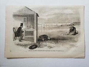 Cannon Balls Electro-Ballistic Apparatus Machine 1864 Civil War Print Sketch
