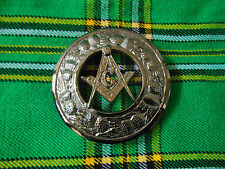 New Kilt Fly Plaid Masonic Crest Brooch Antique Finish/Scottish Fly Plaid Brooch