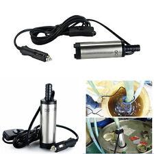Car SUV 12V 38mm Silver Aluminum Submersible Transfer Pump Water Oil Diesel Fuel