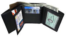 BLACK MEN'S GENUINE LEATHER ID WINDOW CENTER FLAP CARD TRIFOLD WALLET FREE SHIP
