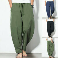 Men's Cotton& Linen Wide Leg Pants Hot Summer Loose Casual Bloomers Trousers