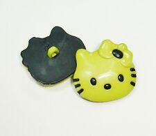 (2.80 EUR/Stück) Kinderknopf Hello Kitty grün 28mm