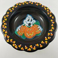 Vintage Plastic Black Candy Bowl Ghost Jack-O-Lanterns Candy Corn Berman Ind
