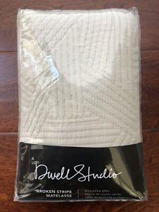 Dwell Studio BROKEN STRIPE MATELASSE Euro Pillow Sham (1) DOVE Quilted NWT