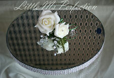SILVER DIAMANTE MIRROR PLATE CAKE STAND WEDDING TABLE  ROUND 16""