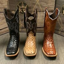 MEN'S RODEO COWBOY ALLIGATOR BACK BOOTS GENUINE LEATHER WESTERN SQUARE TOE BOTAS