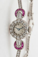 Antique 1920 $10,000 5ct French Cut RUBY Diamond FANCY CUT Platinum Ladies Watch