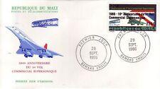 3952+ CONCORDE  FDC 1er JOUR MALI 1986 + CACHET AU DOS