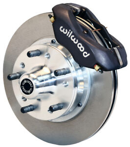 """WILWOOD DISC BRAKE KIT,FRONT,73-76 PLYMOUTH DUSTER,11"""" ROTORS,BLACK CALIPERS"""