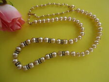 Vtg Art Deco Necklace With Faux Pearl Beads And Roundelays Spacers      #245.