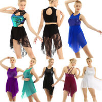 Women Girl Lyrical Dress Mesh Ballet Leotard Shiny Sequins Modern Dance Costume
