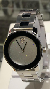 Movado Bold Silver Stainless Crystal Glitter Dial Womens Watch 3600568