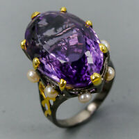 Amethyst Ring Silver 925 Sterling Handmad33ct+ Size 8.75 /R130293