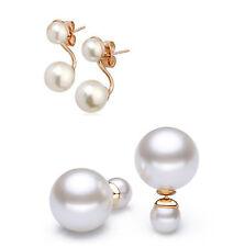 Graceful Women Gold Filled White Double Pearl Ear Stud Earrings Jewelry Gift