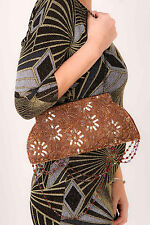 Beautiful bronze lace sequin beaded MIKEY LONDON clutch bag evening bag