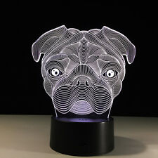 Night Light Acrylic Lamp LED Pug Dog Home Deco Lamp Christmas Gift accessory