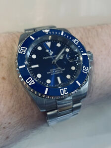 MENS AUTOMATIC WATCH GIV BLUE SUBMARINER DIVERS SAPPHIRE CERAMIC NH35 S STEEL