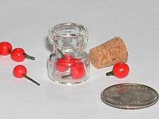 1pc miniature dollhouse charm pendant tiny loose 4 cherries Bottle fruit candy