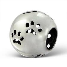925 Sterling Silver Dog Paw Footprint Cut Out Bracelet Charm Bead Gift Box B232