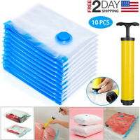 10 x Jumbo Vacuum Storage Bags Travel Space Saver Garment Seal Clothes Hand Pump
