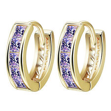 Zircon Women's Hoop Huggie Earing Girls Elegant 14K Gold Plating Purple Cubic
