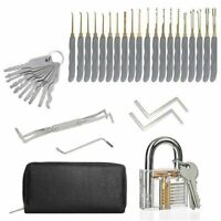 24Pcs Locksmith Training Practice Tool Set + Clear Transparent Padlock