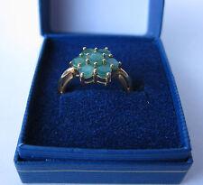 S. Silver Oro Overlay Smeraldo Fiore Anello OTTIMO colore Usato Taglia N