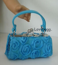 """Blue 3D Roses Kiss-Lock Purse for 18"""" American Girl Doll Widest Variety!"""