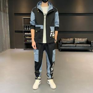 Mens Streetwear Tracksuit Set Sweat Suit Hoodie Jacket + Sweatpants Hip Hop Sets